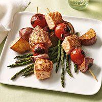 Salmon Skewers over Roasted Vegetables Recipe - 4 servings - 11 points per serving