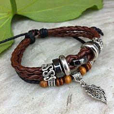 Handmade Men's Leather Bracelet-Leaf    $9.90 usd