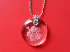 Hibiscus flower etched glass sterling silver pendant statement necklace by RabbitRunRoad, $29.00