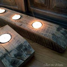 How to make DIY reclaimed barn wood tea light candle holders. Simple rustic decor from leftover farmhouse barn wood table. Old Wood Projects, Reclaimed Wood Projects, Reclaimed Wood Furniture, Industrial Furniture, Pipe Furniture, Furniture Vintage, Vintage Industrial, Diy Projects, Rustic Furniture