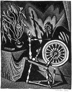 Wanda Gag, Spinning Wheel: Signed in pencil. This is a fine impression on light cream wove paper with substantial margins (possibly full). Minnesota Historical Society, Art Students League, Wood Engraving, Children's Book Illustration, American Artists, Art History, Spinning, Illustrators, Book Art