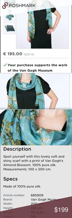 NEW • Van Gogh 100% Silk from Museum in Amsterdam NEW with tags • original price in Euros • soft beautiful 100% Silk directly from Amsterdam from the Van Gogh Museum -- full description and price on photos from museum shop • Questions Welcome Van Gogh Museum Shop Accessories Scarves & Wraps