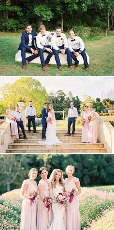 Pink lace bridesmaid dresses with groomsmen wearing navy suit pants, brown shoes and bow ties | Casey Jane Photography