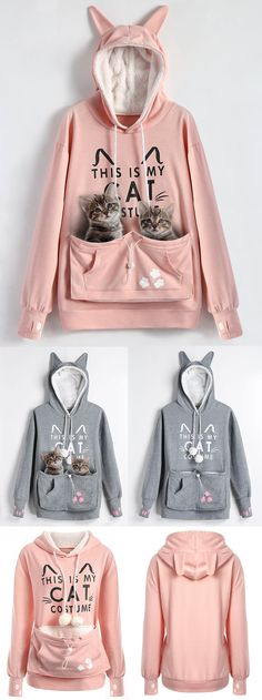 Plus Size Cat Holder Pouch Pocket Hoodie | $15.14(was 34.66) | #plussize #womenfashion #hoodie #Cats