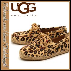NEW✨UGG PAINTED ANIMAL ESPADRILLES Slip into these comfy espadrille for a walk on the wild side. Round croquet toe and two eyelet lace-up vamp. Genuine calf hair and leather construction with topstitch detail. Pure UGG lining, Jude woven bottom trim and textile and rubber sole. UGG Shoes Espadrilles