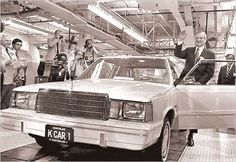 Lee Iacocca with the 'K' Car [Plymouth Reliant & Dodge Aires] hoping to save Chrysler Corporation