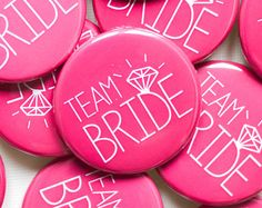 5 x Pink Team Bride Badges - Hen Party / Hen Night / Bachelorette Badges