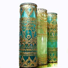 Set of Three Tall Container Candles in Hand Painted от LITdecor