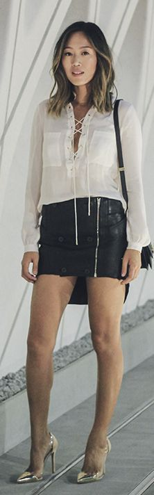 Gold Heels Black Leather Hi-lo Skirt White Lace Up Blouse Trendy Street Fall Inspo by Song Of style