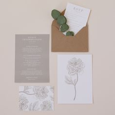 A classic and romantic wedding invitation suite featuring detailed floral illustrations paired with calligraphy inspired fonts. classic wedding invitation, romantic wedding stationery, eucalyptus wedding invitation, vintage floral wedding save the date hand dyed silk ribbons, illustrated floral envelope liner