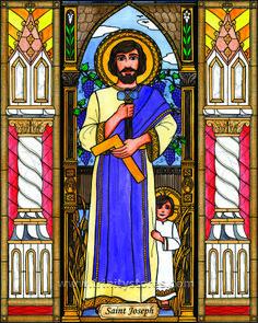 "St. Joseph | Catholic Christian Religious Art - Artwork by Brenda Nippert - From your Trinity Stores crew, ""St. Joseph please pray for us!"" St Joseph Catholic, Archangel Gabriel, Hail Mary, Art Icon, Angel Art, Religious Art, Folk Art, Stained Glass, Pray"