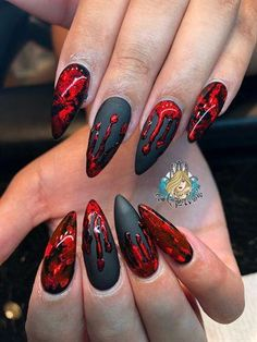 Bloody Halloween by AlysNails from the Nail Art Gallery - Blood . - Bloody Halloween by AlysNails from the Nail Art Gallery – Blood … – Bloody H - Ongles Gel Halloween, Cute Halloween Nails, Halloween Acrylic Nails, Bloody Halloween, Halloween Nail Designs, Cute Acrylic Nails, Fun Nails, Halloween Coffin, Creepy Halloween
