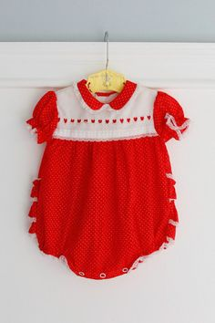 Vintage Red and White Dotted Baby Bubble Romper, Cute for Summer, Size 0-3 Months, Ruffled Bottom, Heart Trim, Peter Pan Collar