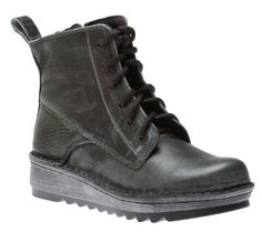 This low calf leather lace up boot features an inside zipper for easy accessibility and a padded shaft and tongue for enhanced cushioning. Leather Lace Up Boots, Calf Leather, Calves, Combat Boots, Wedges, Grey, Sneakers, Vintage, Shoes