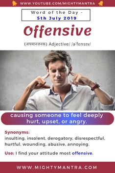 Offensive - Word of the Day English Sentences, English Idioms, English Phrases, Learn English Words, English Writing, Vocabulary Meaning, Vocabulary Sentences, Good Vocabulary Words, Italian Language