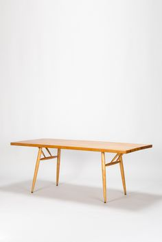 André Renou and Jean Pierre Genisset; Gilt Iron and Oak Coffee Table ...