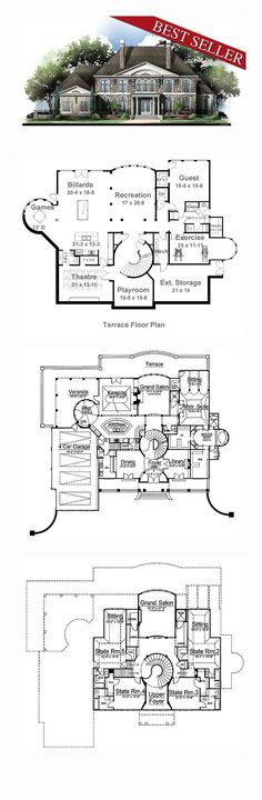 House Plan 72155 - European, Greek Revival Style House Plan with 5691 Sq Ft, 5 Bed, 7 Bath, 4 Car Garage Luxury House Plans, Dream House Plans, House Floor Plans, My Dream Home, 6 Bedroom House Plans, The Plan, How To Plan, Greek Revival Home, House Blueprints