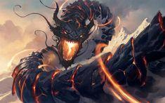 Ryusei, the Falling Star - Magic the Gathering Illustration done for Magic the Gathering. Dark Fantasy Art, Fantasy Artwork, Monster Design, Monster Art, Magic The Gathering, Fire Snake, Mtg Art, Fantasy Beasts, Dragon Artwork