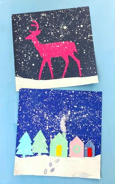 HOLIDAY SPLATTER PAINTING | Snowy landscape | Winter Art Projects for kids