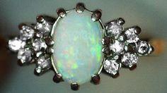 #Vintage #Rings #Jewelry #Opal & #Diamond #Ring #Fiery €695 #Jewelry #The #Antiques #Room #Galway #Ireland Vintage Diamond, Vintage Rings, Unique Vintage, Diamond Rings, Diamond Engagement Rings, Galway Ireland, October, Van, Brooch