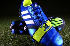 They are a cool, blue, green trainers of football soccer. The trainers are Adidas's brand and has a emblem of the brand, they are three lines. They have a price of one thousand and three hundred