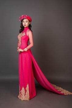 Items similar to Wedding ao dai with long train. Pink fabric with gold colored details. on Etsy Vietnamese Dress, Pink Fabric, Ao Dai, Beaded Lace, Traditional Outfits, Formal Dresses, Wedding Dresses, Dress Making, Designer Dresses