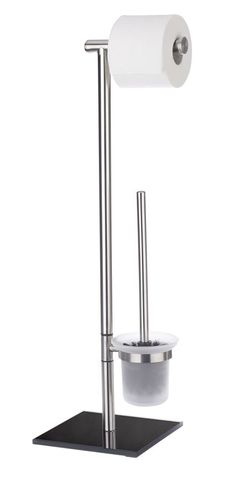 Die Bürstengarnitur Lima ist eine Kombination aus Toilettenpapier-Rollenhalter und offener WC-Garnitur. Das Gestell ist aus rostfreien mattierten Edelstahl, die standfeste Bodenplatte ist aus schwarzen Sicherheitsglas und sorgt für einen sicheren Halt. Gesehen für € 34,99 bei kloundco.de.