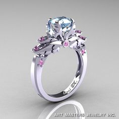 Classic Angel 14K White Gold 1.0 Ct Aquamarine Light Pink Sapphire Solitaire Engagement Ring R482-14KWGLPSAQ