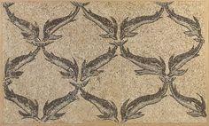 Frammento di mosaico (nordafrica? III-IV sec.) con motivo decorativo formato da piccoli delfini - Mercato antiquario, Christie's
