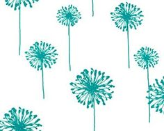 SALE Last 1 Yard Dandelion Fabric in Turquoise and by moderncloth