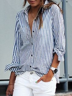 9e2d3e31d0cef Shirt Collar Buttoned Long Sleeve Plus Size Shirt Blue Striped Shirt  Outfit