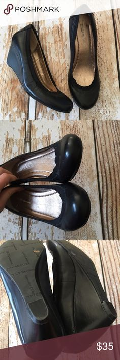 """BCBGeneration black leather wedge pumps size 6.5 BCBGeneration black leather wedge pumps size 6.5 very similar to the BCBG Topanga wedge pumps. Like new worn 1-2 times. 2.5"""" heels.  🍥Bundle deals available (I carry various sizes and brands in my closet): 2 items 10% off, 3 items 15% off, 4 items or more 20% off.  🍥No trades, modeling, or lowball offers please. 🍥All reasonable offers accepted only through """"offer"""" button. Please submit offer willing to pay as I prefer to not counteroffer…"""