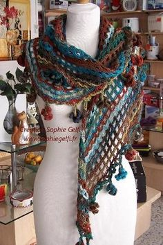 Sophia Shawl with hyperbolic flowers CROCHET PATTERN - permission to sell  your finished item on Etsy. Bufanda PañueloCrochet ... 758006dd073