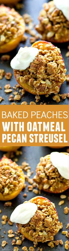 Juicy, sweet summer peaches are stuffed with a cinnamon sugary oatmeal pecan streusel filling and topped with lots of fresh whipped cream for an ultimately easy summer…