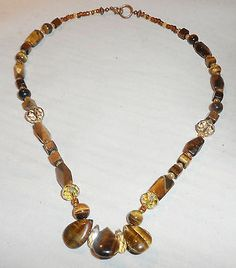 HANDMADE TIGER'S EYE NECKLACE AND MATCHING EARRINGS SET