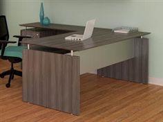 Mayline Medina L Shaped Desk with Gray Steel Finish - $678.99