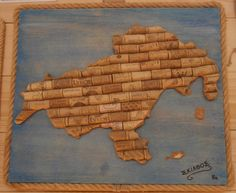 Map of Skiathos, Greece, created by upcycling wine corks.