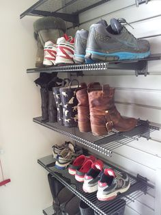 Shoe Organizers in Garage using slatwall and ventilated shelving. Garage Makeover By Clever Quarters