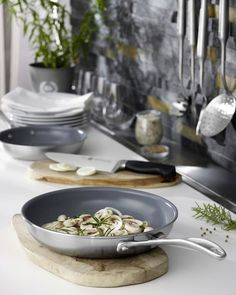 Looking for a healthy alternative to traditional nonstick cookware?  Check out the Zwilling Spirit Ceramic Nonstick Cookware.  The eco-friendly nonstick surface releases food instantly uses less butter or oil and cleans up effortlessly. #Cookware #Skillets #Zwilling #JAHenckels #Spirit #healthycooking