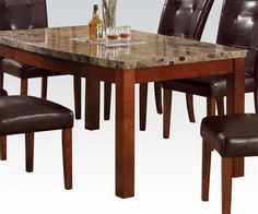 Bologna Transitional Brown Cherry Marble Wood Arc Dining Table