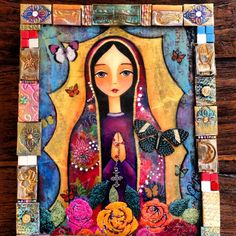 La virgen de las Flores/ Ana Ferrer Art With a frame made with polymer clay leuke omlijsting Blessed Mother Mary, Blessed Virgin Mary, Madonna, Spiritual Paintings, Mama Mary, Mary And Jesus, Pop Art, Arte Popular, Mexican Folk Art