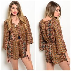 FINAL PRICE! rust romper🌻🌼 Bohemian style romper in rust. 100% polyester. Tassel tie in front. 3/4 sleeves. Open back. Available in sizes small medium & large. Runs slightly small. Large measures bust 38 inches, 30 inches waist (stretches to 32 inches), 31 inches length. Love Riche Pants Jumpsuits & Rompers