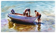 """Pushing the boat out by Graham Berry Watercolor ~ 10"""" x 16"""""""