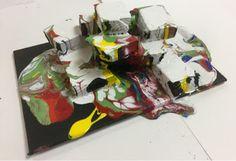 7th Grade's Paint Pour Sculpture-Kim & Karen: 2 Soul Sisters (Art Education Blog): Holton Rower Paint Pour
