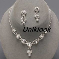 bridesmaid formal bridal clear crystal elegant costume jewelry necklace sets 23 uniklook