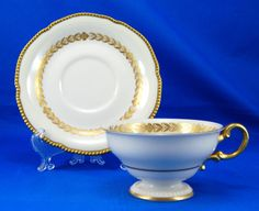 Castleton LAUREL Footed Cup and Saucer Set 2.25 in. USA Gold Beaded Cream Leaves