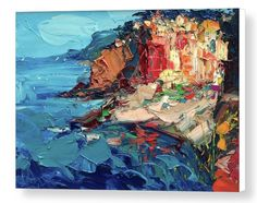 """Cinque Terre Riomaggiore Artwork Canvas Wall Art Abstract Seascape Prints Impressionist Picture Sea Ocean Coastal Home Decor Living Room Gifts Ideas Her Women Christmas from Painting Agostino Veroni. *****Please have in mind that it takes 5 to 7 days to finish the product and 3 days to ship it. You can be certain that your order will be in your hands within 10 days of purchase. ***** This large canvas print comes ready to hang and is available in 2 different sizes (16""""x23"""" 20""""x29""""). Frame…"""
