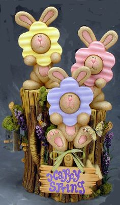 """Ceramic Bisque Ready to Paint  3 Bunnies on Stump """"Bebe"""" """"Bella"""" and """"Beatrice"""""""