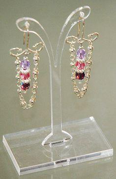 Purple Pink Earrings Swarovski Crystal Earrings by KwaiJewellery