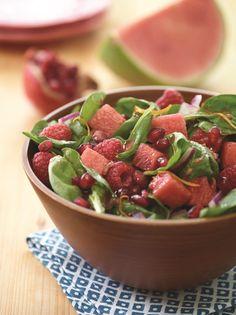 Watermelon Raspberry Spinach Salad with Pomegranate Vinaigrette